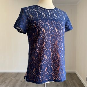 French Connection Blue Lace Overlay Tee Blue Pink
